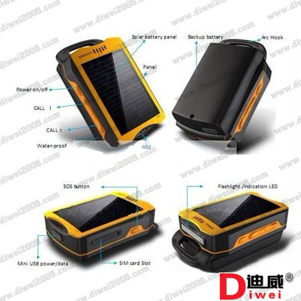 Solar energy portable tracker JT600 used in mobile asset tracking